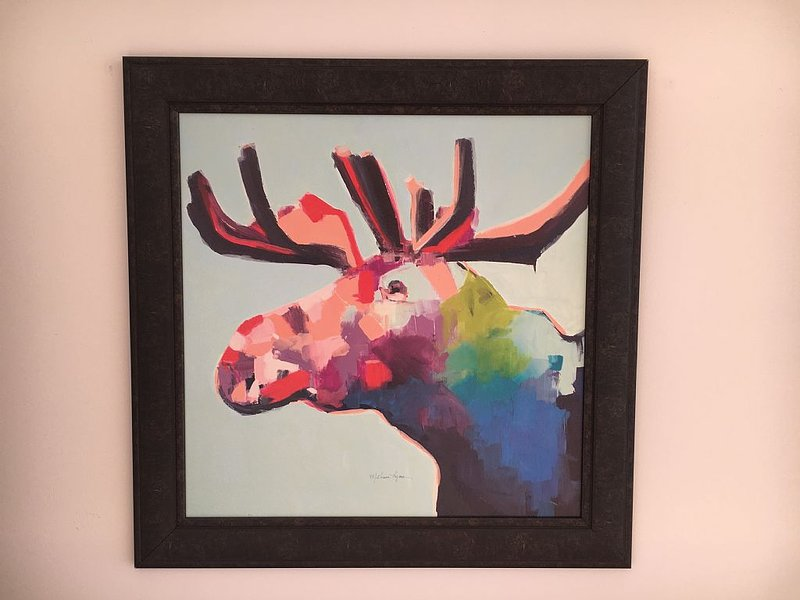 Moose painting purchased in Petoskey, MI, one of our childhood vacation spots!