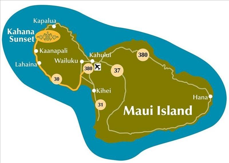 Map of Maui with Kahana Sunset located in West Maui between Lahaina and Kapalu