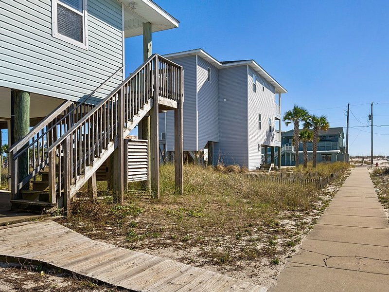 Side of House, Sidewalk leading to Beach