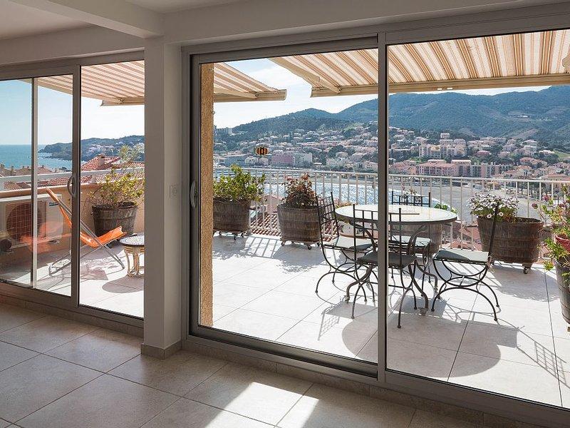 Spacious and all cons mode apartment – Exceptional panoramic sea and mountain v, alquiler de vacaciones en Banyuls-sur-mer