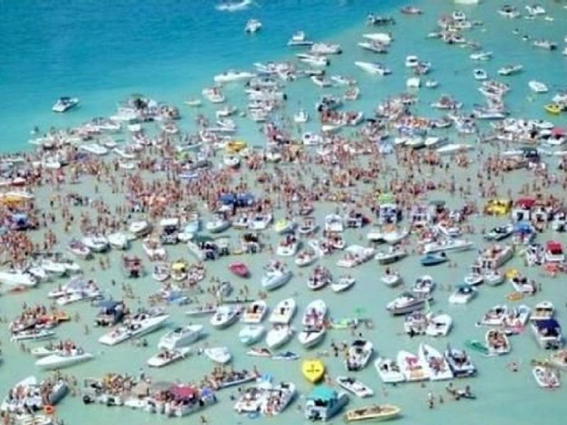 Aerial view of the sand bar on Torch Lake (it's not usually THIS crowded).