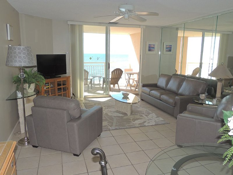 Living Room and Oceanfront Balcony