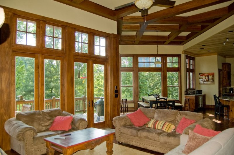 Open Floor Plan with Kitchen, Dining Area and Great Room.  Access to Oversized Deck for Mountain and River Views.