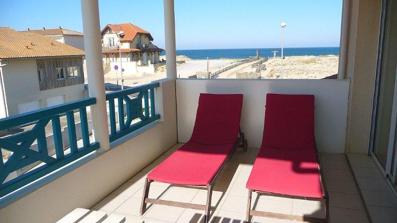 MIMIZAN plage: Appartement à 50 m de la plage. Grande terrasse vue océan. WIFI, alquiler de vacaciones en Landes
