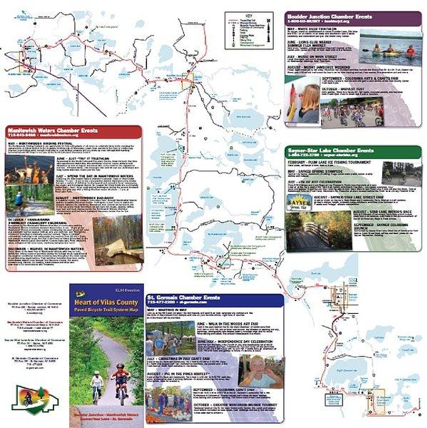Vilas County Bike Map - Boulder Jct,  Manitowish H2O, Sayner and St. Germain.