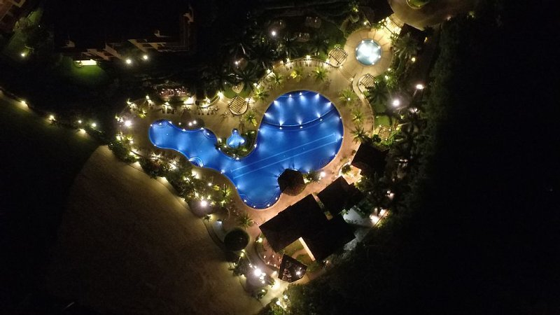 The beach club at night