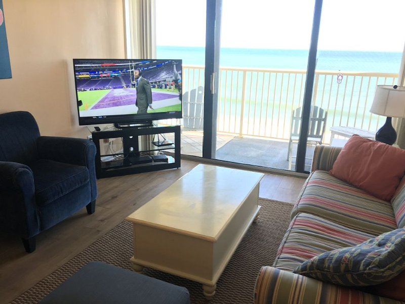 "55"" Samsung LED HDTV & Sony Blu-ray player in oceanfront living area."