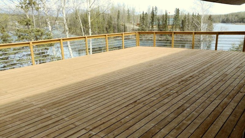 Partially covered lakeside deck