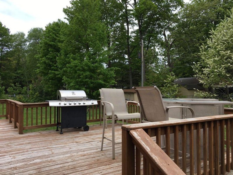 Deck on the back of the house.  Grill & Patio set available for your use!