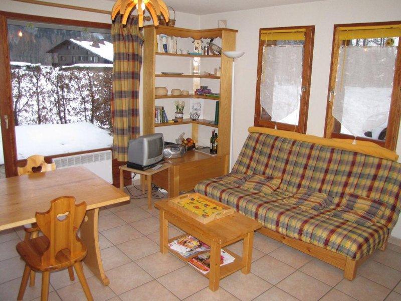 Appartement en rez de jardin plein Sud  à Samoëns de 43 m2, location de vacances à Sixt-Fer-a-Cheval