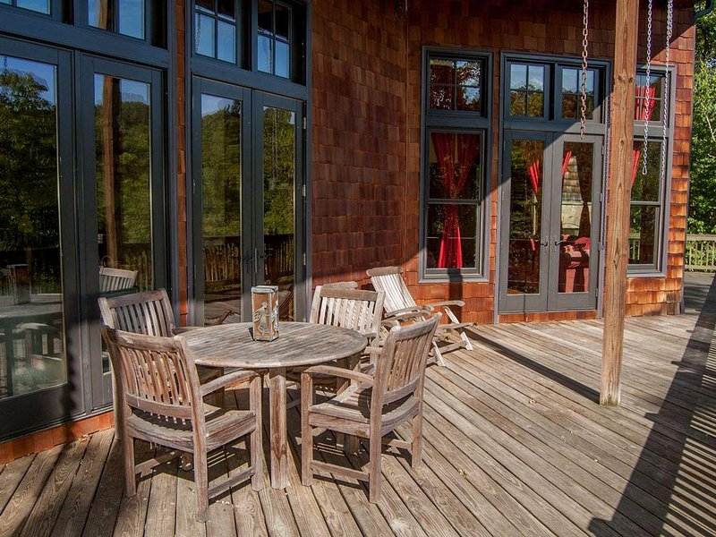 Oversized Deck with Teak Table and 4 Chairs - 2 Additional Lounge Chairs.