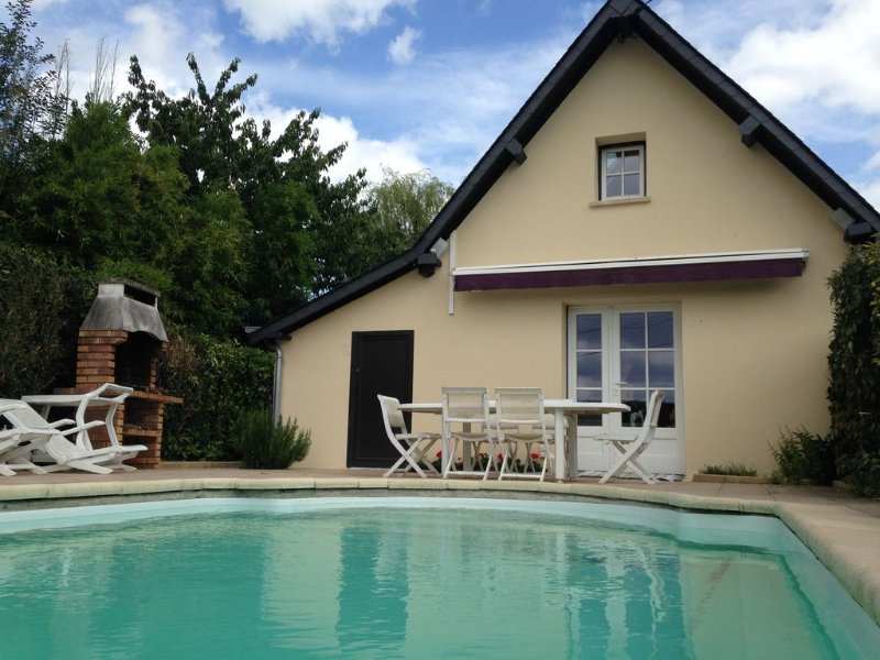 Longère à colombage de 140m2 piscine privée chauffée à côté de Cabourg, location de vacances à Dozulé