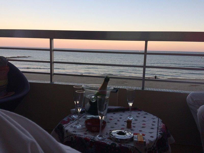Très bel F3 en 1er ligne mer ,avec grande terrasse vue à 360° mer, alquiler vacacional en Palavas-les-Flots