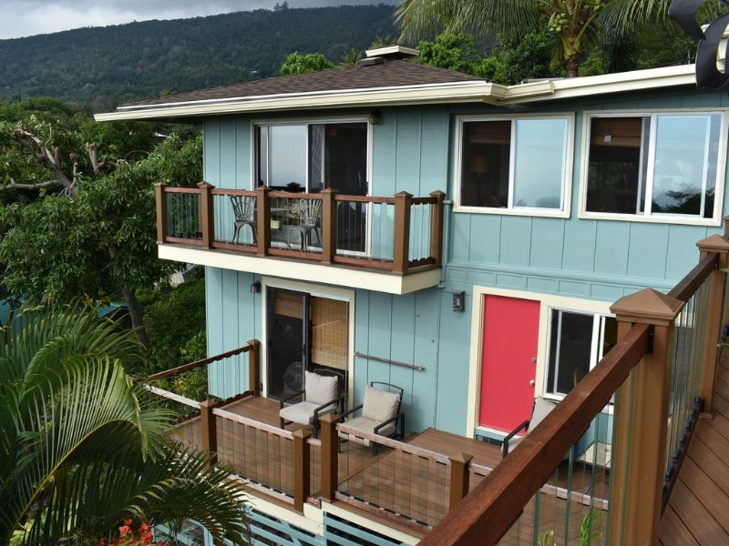 Lanai is the lower deck and the lookout is the upper. West view for sunset.