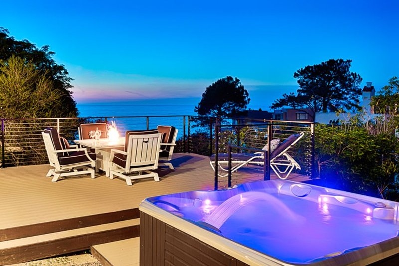 Relax on your Ocean View deck with brand new hot tub and ocean view deck