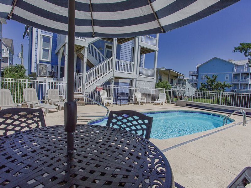 Private saltwater pool + outdoor seating. Pool  heated by request