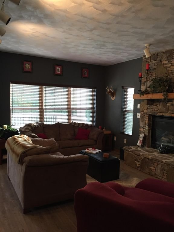 Living room area- stay cozy by the fire with just a flip of a switch!