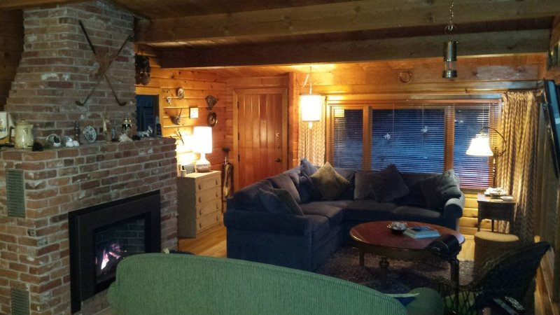 Oceanfront log cabin with sweeping ocean, mountain and sunset vistas, holiday rental in Nanoose Bay