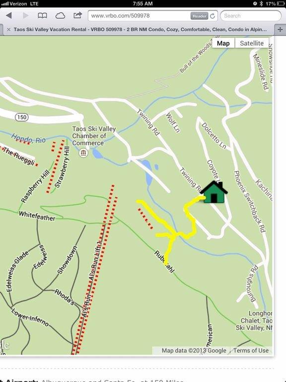 8-10 min walk/ski to the base area where lifts, ski sch., rental shops, restaurants
