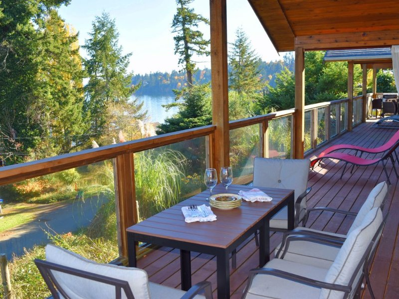 Expansive deck off the living-room and kitchen