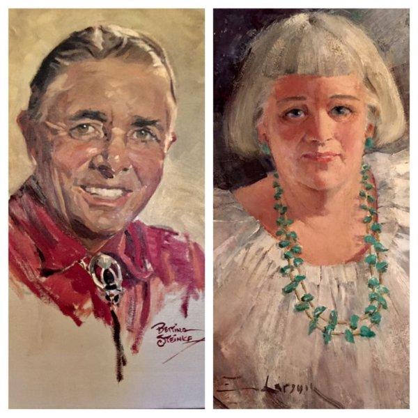 Porträtt av Ruth och Charles Reynolds av tidiga Taos artister.
