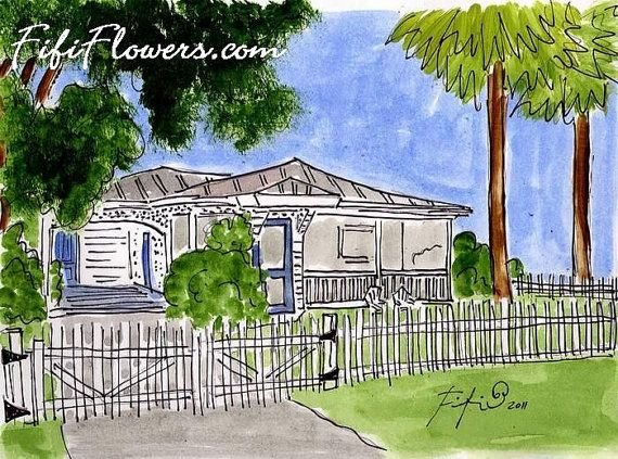 Sea Largo Cottage by Fifi Flowers. Matted prints sold at Seaside Sisters gift shop on Tybee Island! Be sure and take one home; great souvenir of your stay!