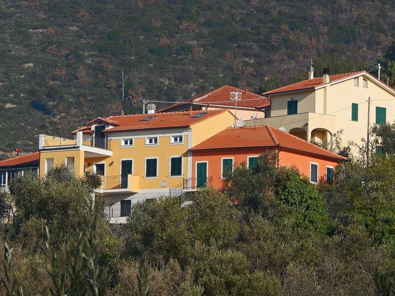 GRANDE TRILOCALE MANSARDATO 5+2 POSTI LETTO AMPIA TERRAZZA PANORAMICA, WIFI, vacation rental in Cisano sul Neva