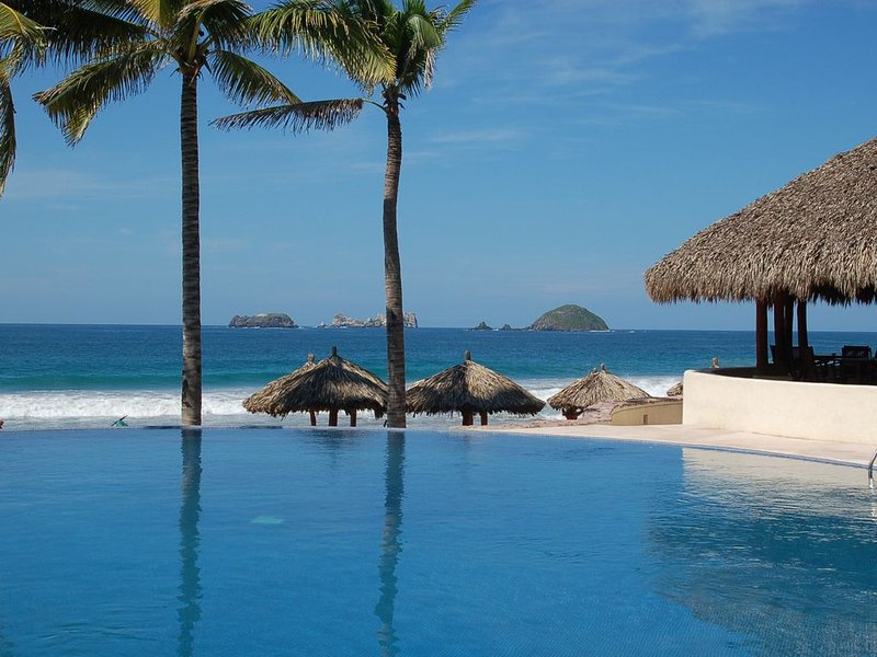Adult Infinity Pool Overlooking the Private Beach Palapas