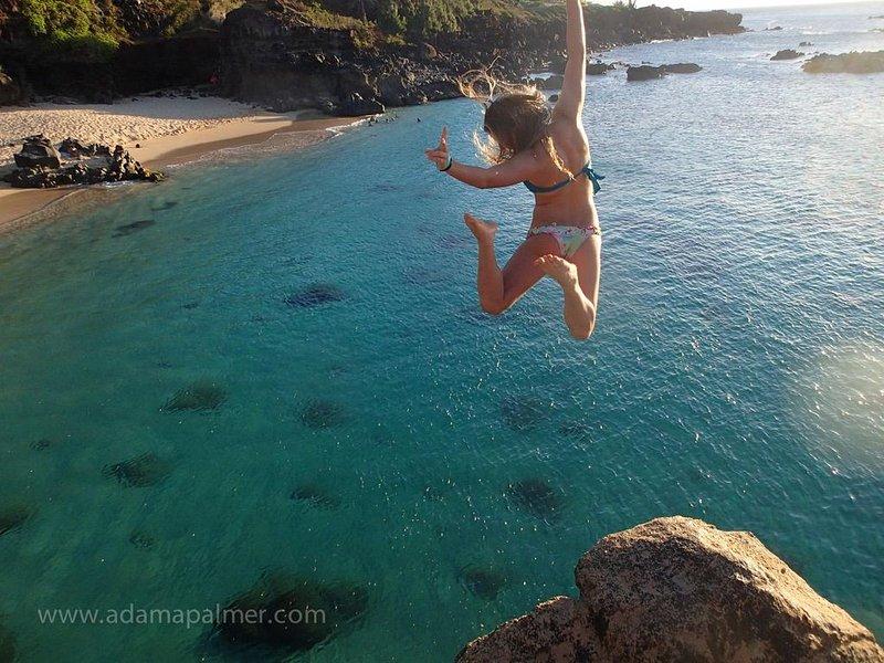 Le saut du rocher au parc de la plage de Waimea est à seulement 20 minutes de Tiki Moon Villas: amusant de regarder les autres sauter ou essayer par vous-même!