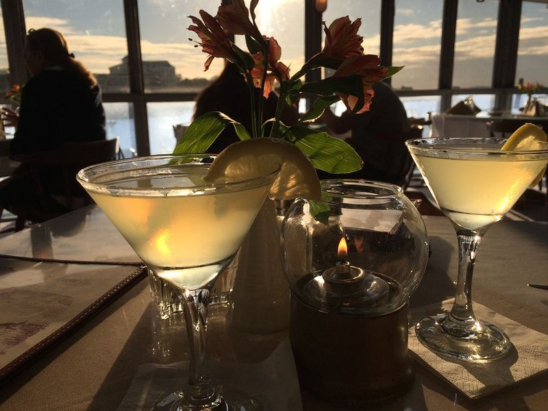Limoncello martinis at Mattakeese Wharf Restaurant at sunset. Delicious seafood