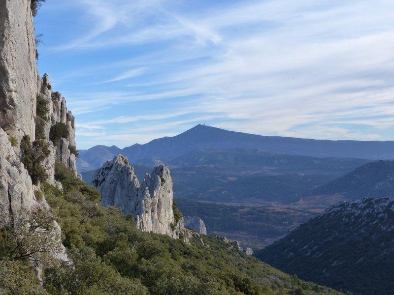 Uitzicht op de Mont Ventoux Dentelles