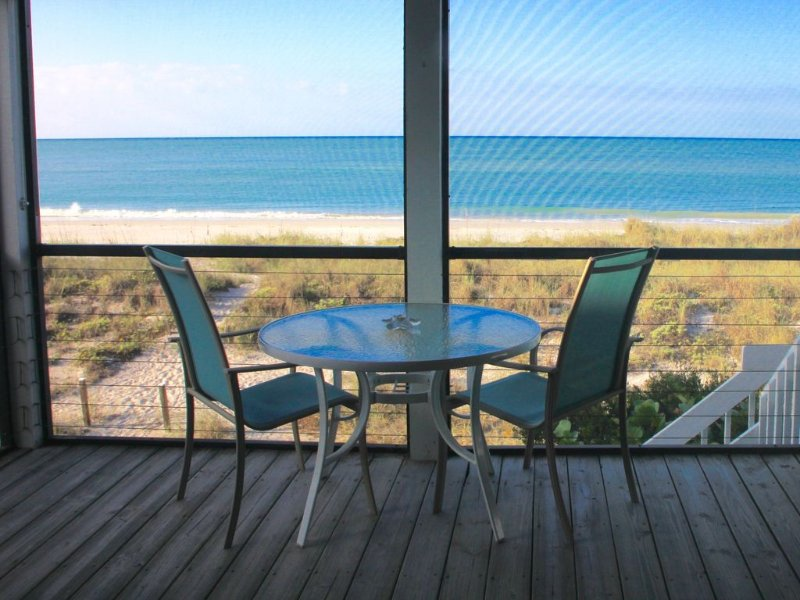 Oceanfront on beach, pool, 55in Smart HDTV, golf cart, ferry pass, pet-friendly, vacation rental in Placida
