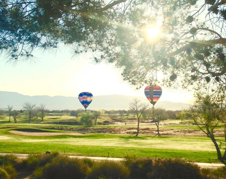 Mountain & golf course views from 13 windows. Balloons a common sight.