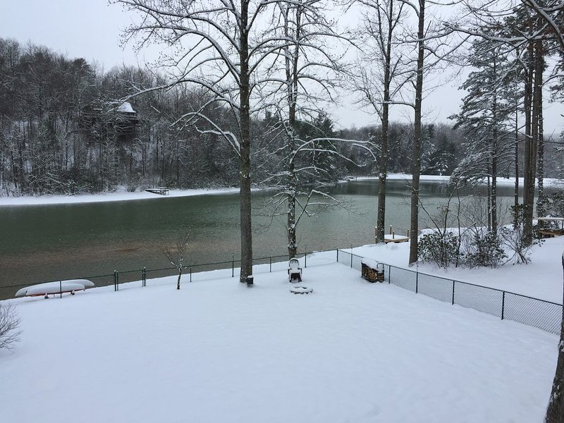 Let it snow!- view of lake from front porch-bring your sled for some sled riding