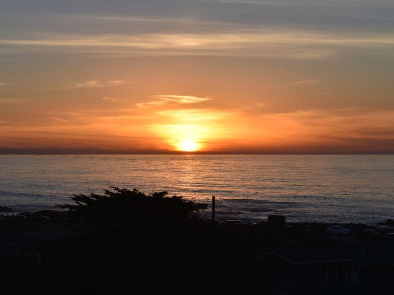 Sunset view over the Pacific Ocean from the living room windows