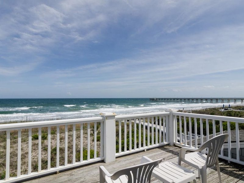 Magnificent views from two private decks at this amazing oceanfront home, holiday rental in Wrightsville Beach