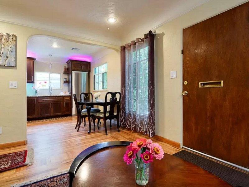 Open floorplan with living room open to kitchen.
