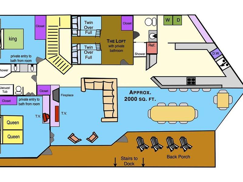 2nd Floor - planlösning (3 sovrum, en kung, 2 drottningar, 2 fulla och 2 tvilling.