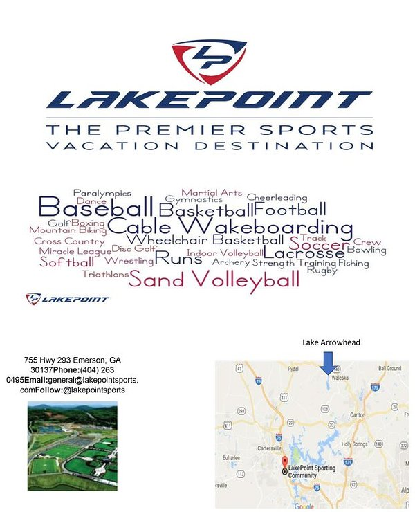 LAKEPOINT SPORTS JUST ABOUT 30 MINUTES AWAY....