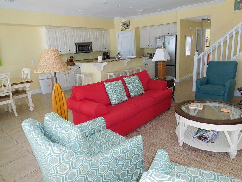 Den adjacent to beachside deck sleeper sofa ample seating