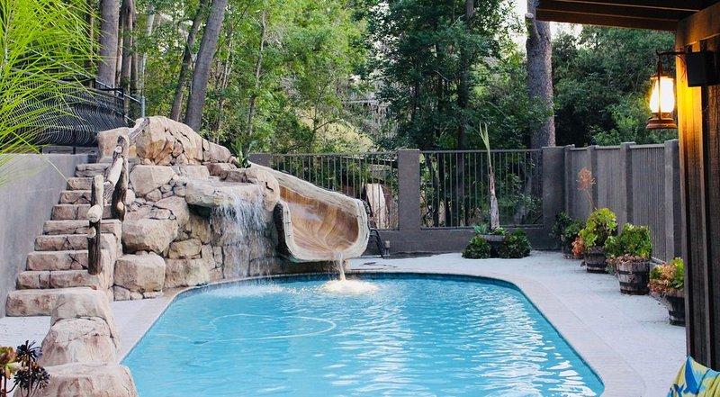 Rock waterslide into the pool!