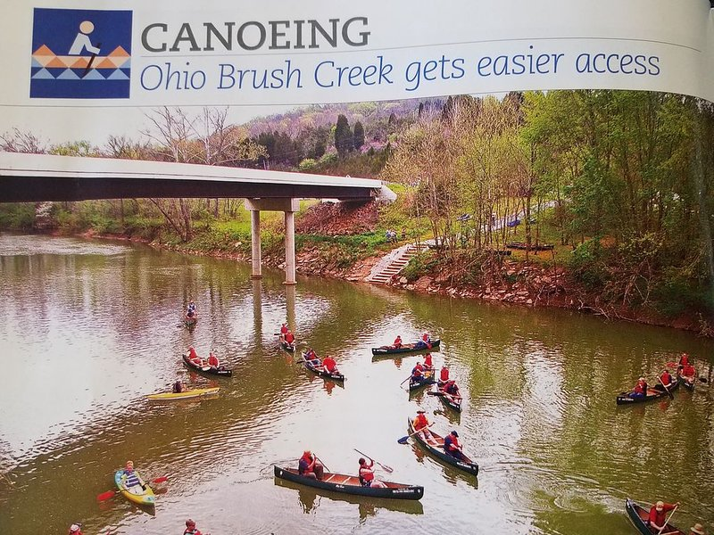 The canoe launch on Ohio Brush Creek is 15 minutes from our cabin.