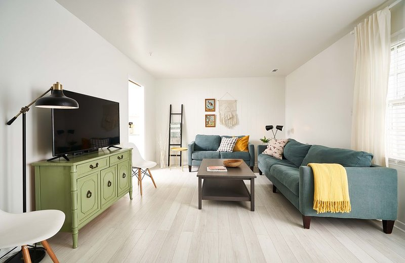 Eclectic decor makes this space fun and cozy, perfect for lounging
