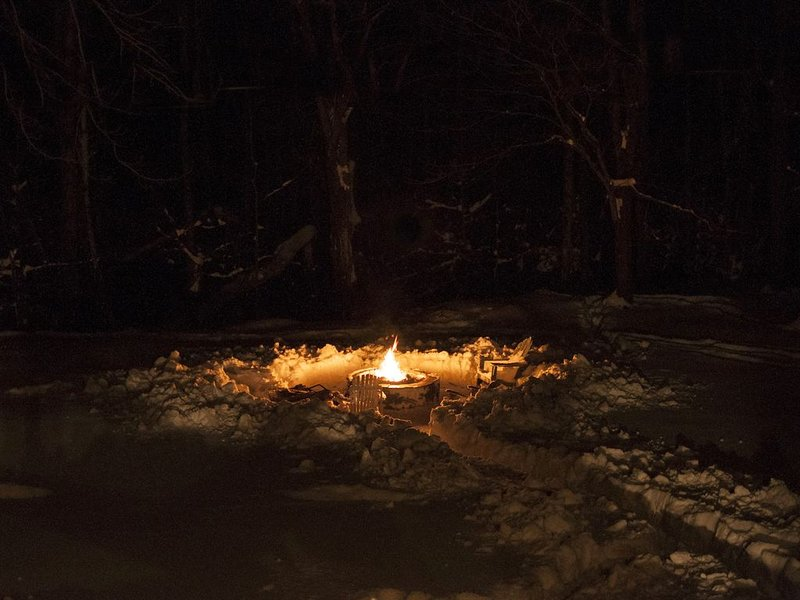 Fire pit in the snow