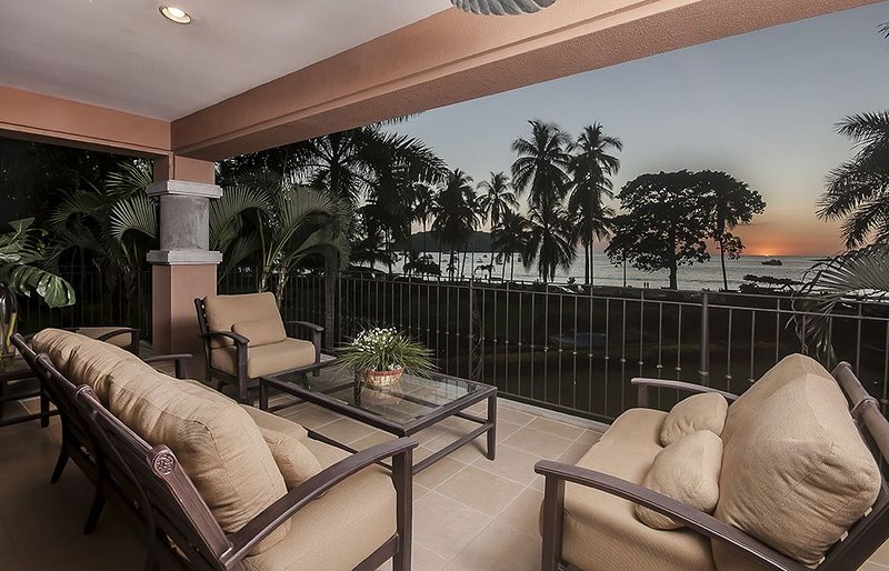 Enjoy amazing sunset from the terrace while listing to the ocean.