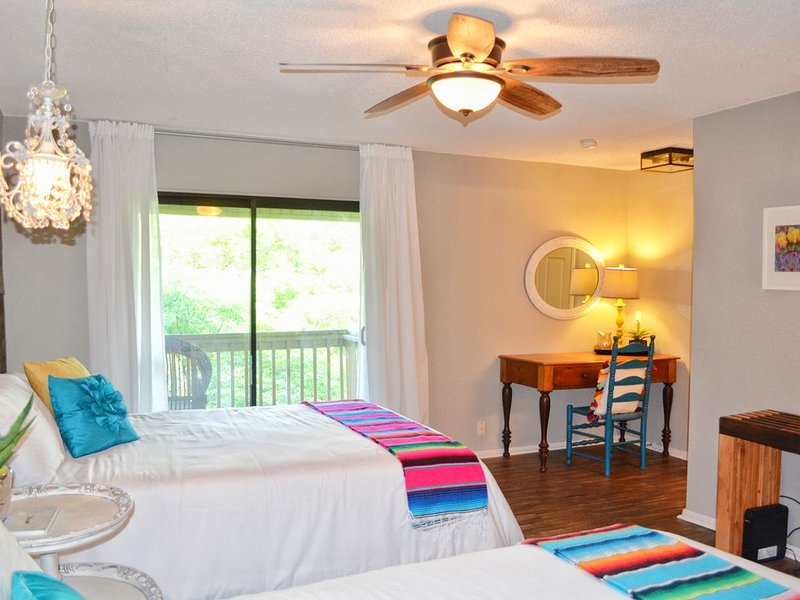 Downstairs Bedroom - Two Queen Beds and Desk Area