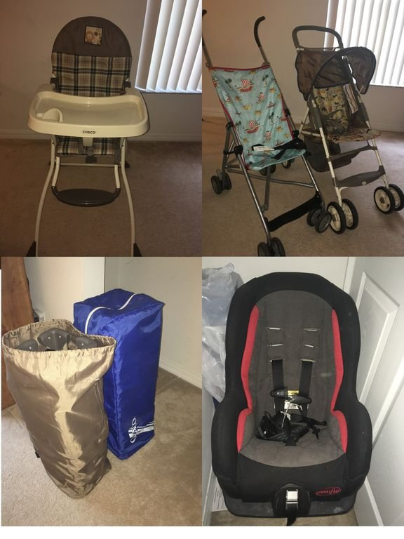 High chair, stroller, Pac-N-Play(2), car seat, (not pictured-toddler bed rail)