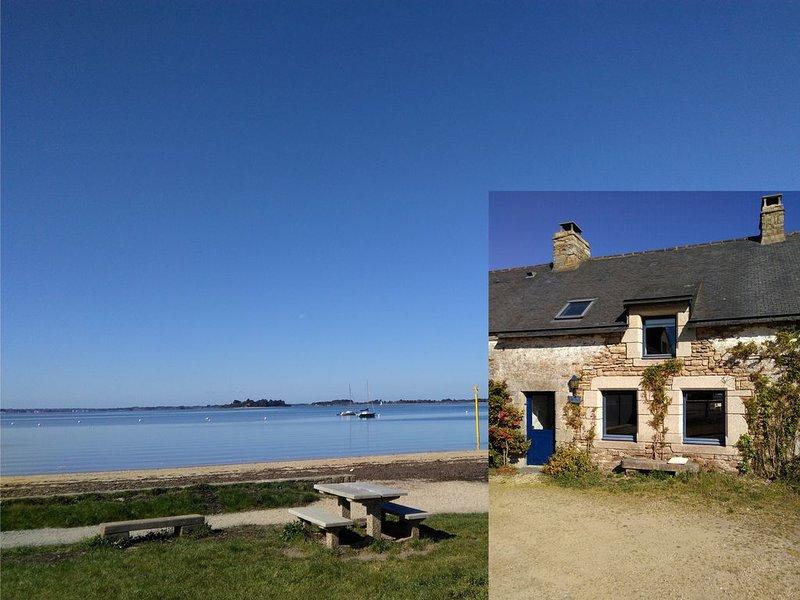 Gîte de caractère , en bord de mer, Golfe du Morbihan, plage 150m, Vannes 10mn, casa vacanza a Sene