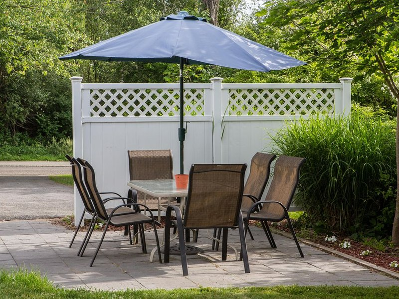Blue stone patio to enjoy outside dining