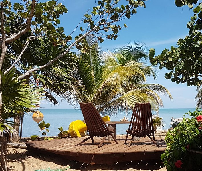 Beach Side! A secret hideaway steps from the Caribbean Sea on a pristine beach., vacation rental in La Democracia